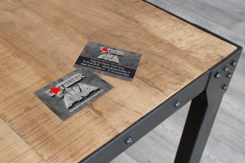 Oliweb concept Conception graphique de cartes de visites pour le restaurant atelier d'aka