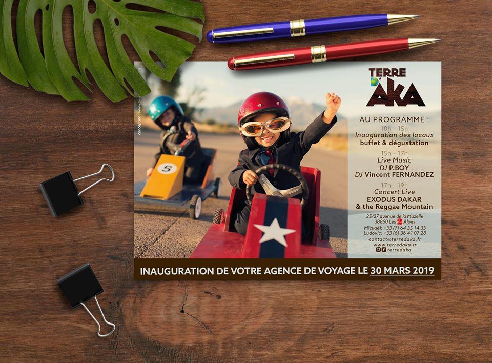 Oliweb concept Conception graphique d'un flyer d'inauguration de l'agence terre d'aka